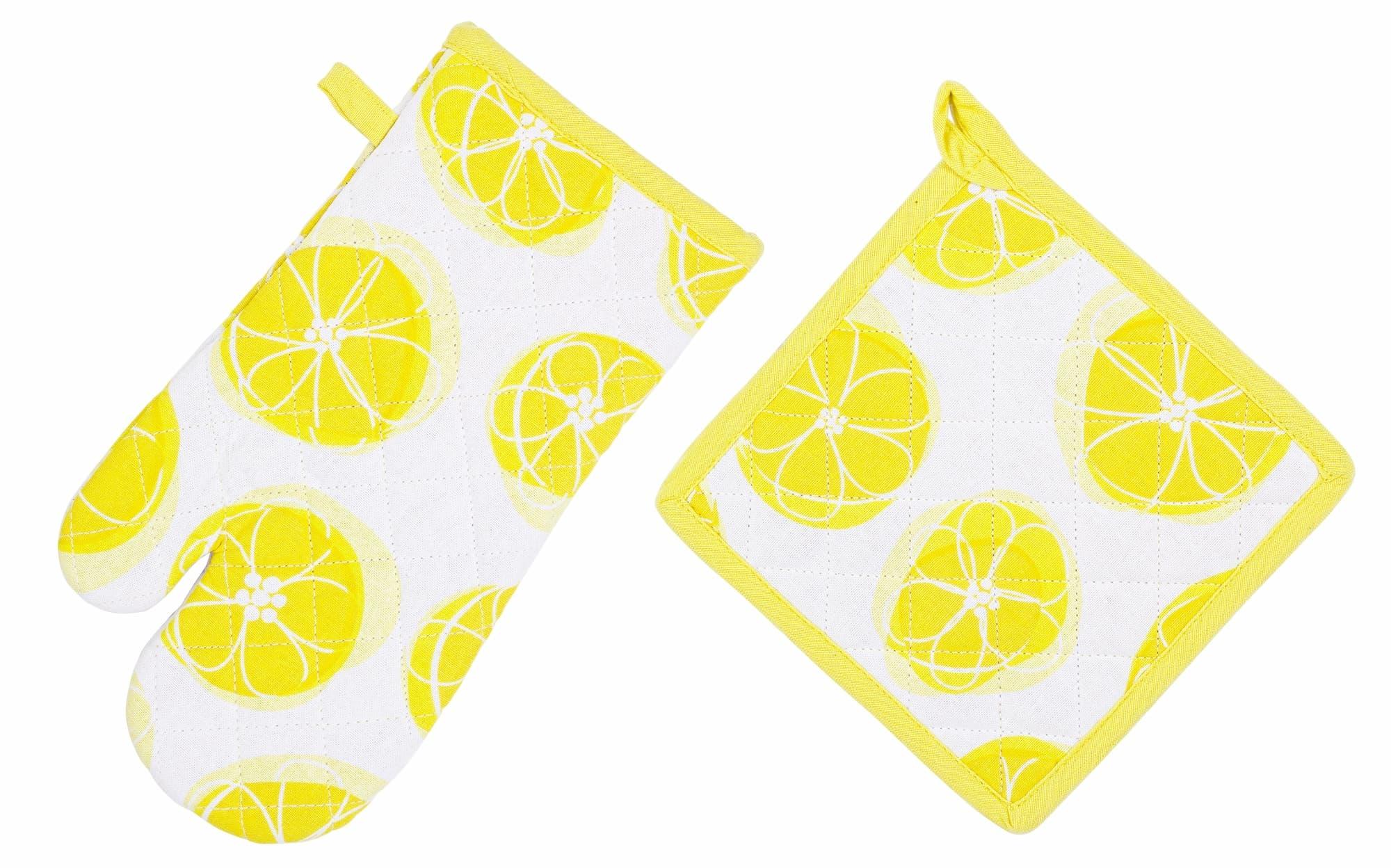 Set textile bucatarie, 2 piese, Lemony Alb / Galben poza