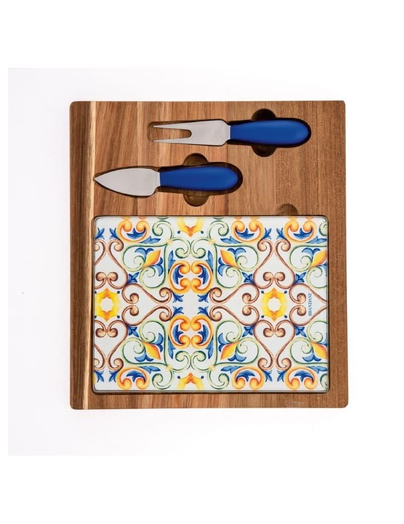 Set tocator din lemn si sticla, cu 2 cutite pentru branzeturi, Medicea Multicolor