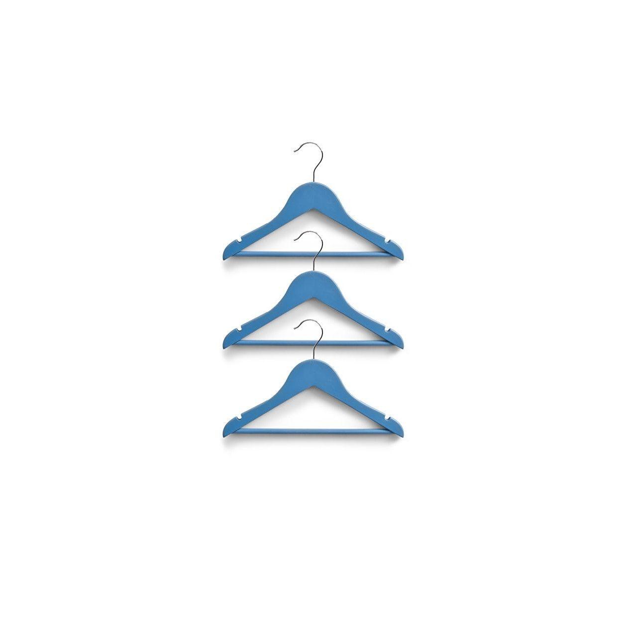 Set umerase din lemn pentru copii, Hanger Albastru, l30,5xH20 cm, 3 bucati