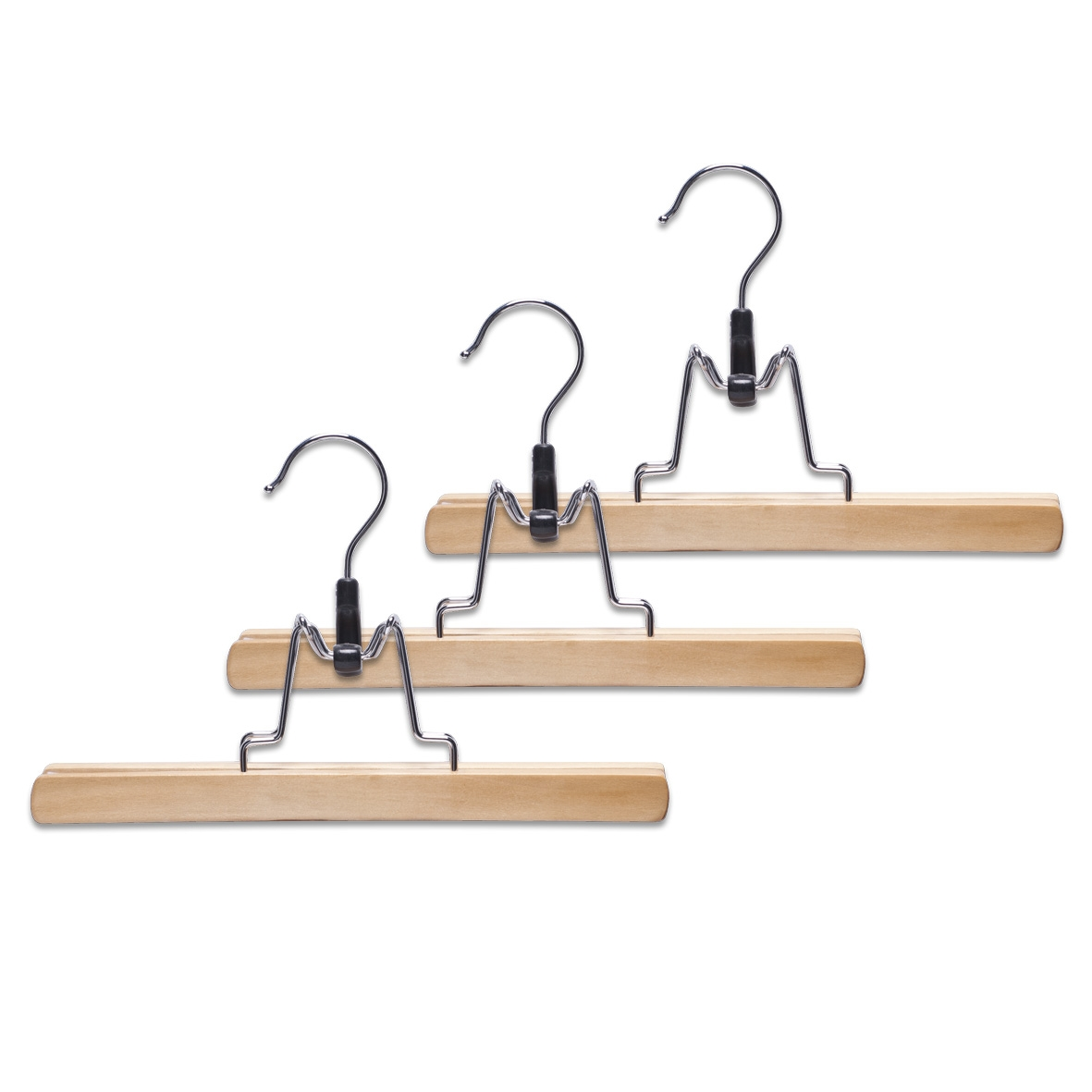 Set umerase din metal si lemn pentru pantaloni, Belt Natural, l25xH15 cm, 3 bucati