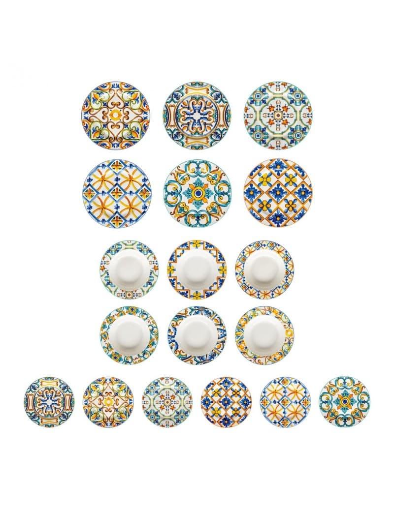 Set vesela din portelan, Medicea Multicolor, 18 piese somproduct.ro