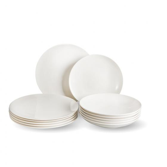 Set vesela din portelan, Voice Basic Dinner Alb, 12 piese, Villeroy & Boch imagine