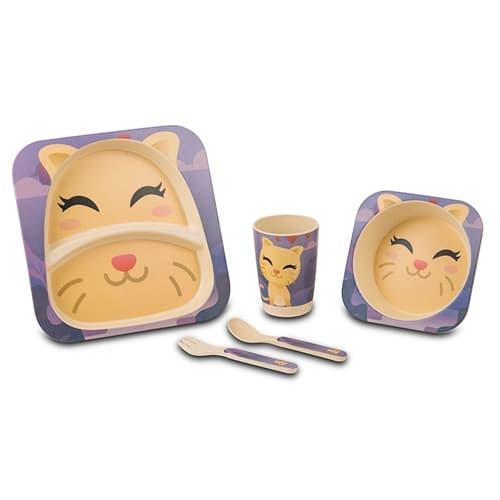 Set vesela si tacamuri pentru copii, Cat Multicolor, 5 piese