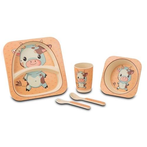 Set vesela si tacamuri pentru copii, Little Cow Multicolor, 5 piese