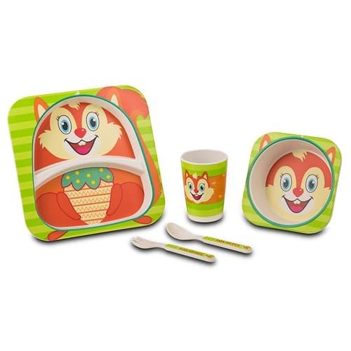 Set vesela si tacamuri pentru copii, Squirrel Multicolor, 5 piese