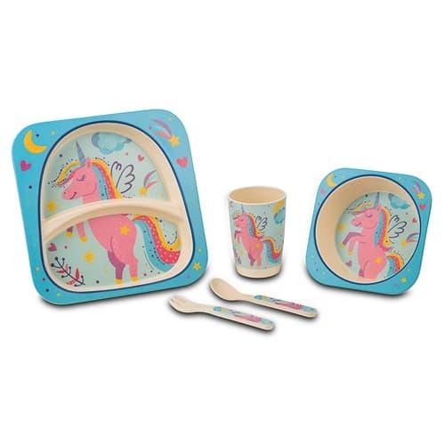Set vesela si tacamuri pentru copii, Unicorn Multicolor, 5 piese