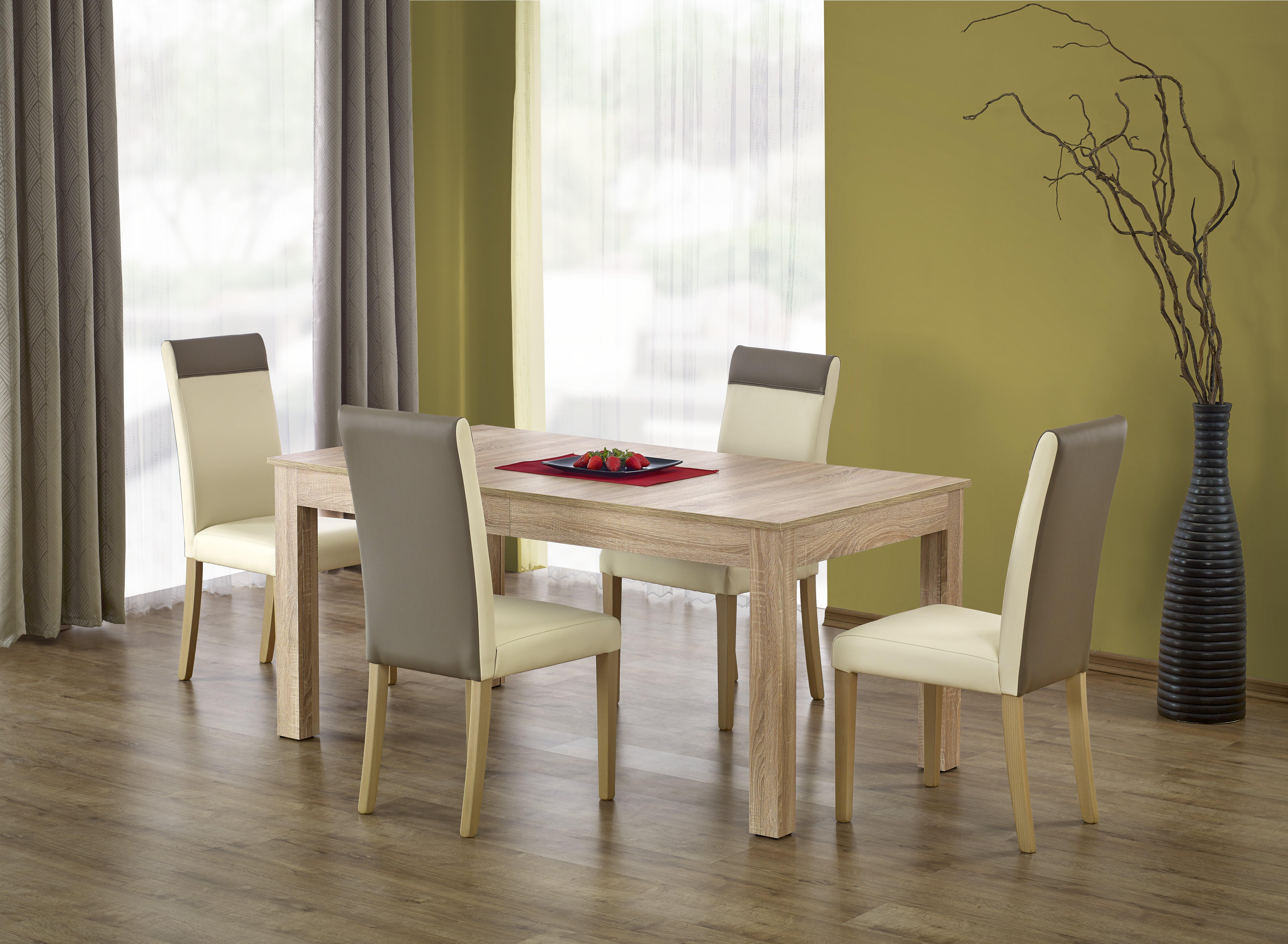 Set masa extensibila din pal si MDF Sewer Sonoma Oak + 4 scaune Norbert Cream, L160-300xl90xH76 cm imagine