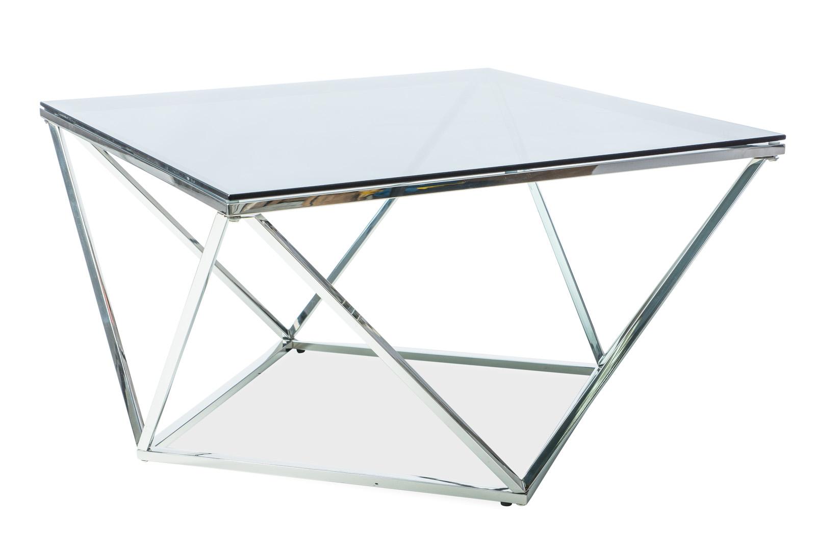 Masa de cafea din sticla Silver A, L80xl80xh53 cm