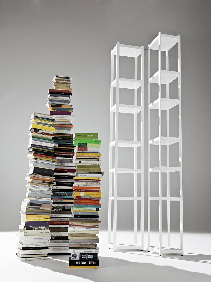 Biblioteca din lemn masiv si MDF Singles White, l32xA23xH217 cm poza