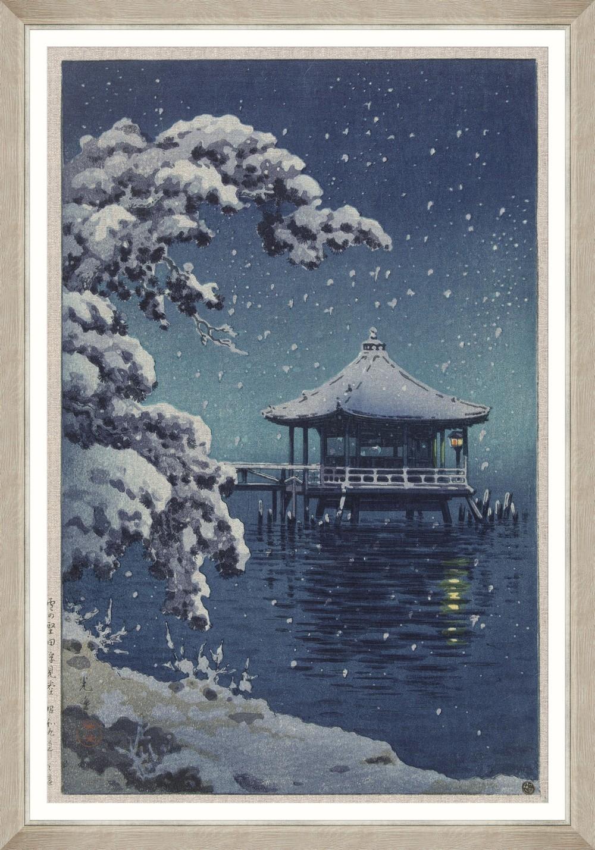 Tablou Framed Art Snow At Ukimido By Koitsu