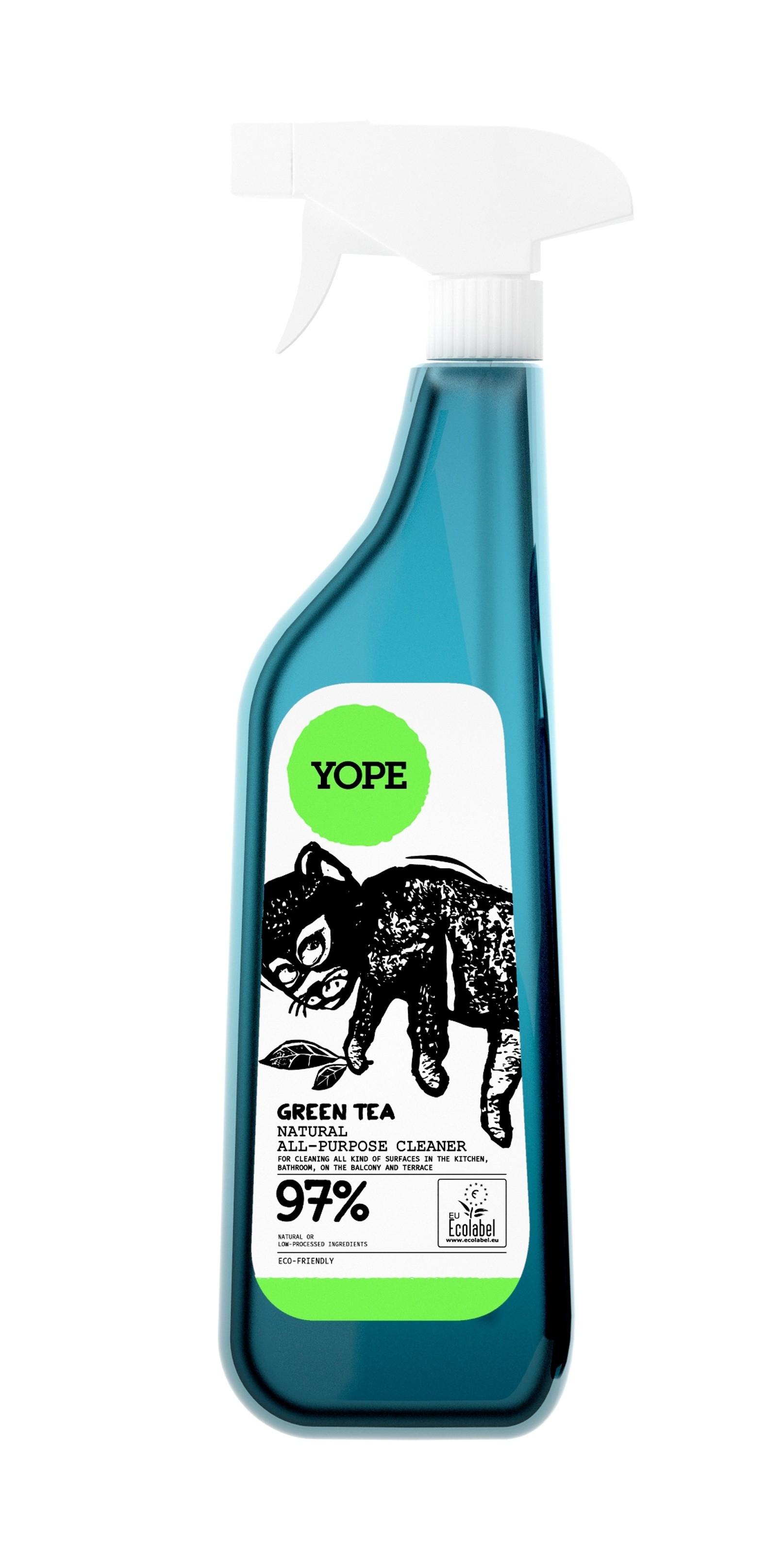 Solutie universala de curatat, cu extract de ceai verde, ingrediente naturale, 750 ml, Yope