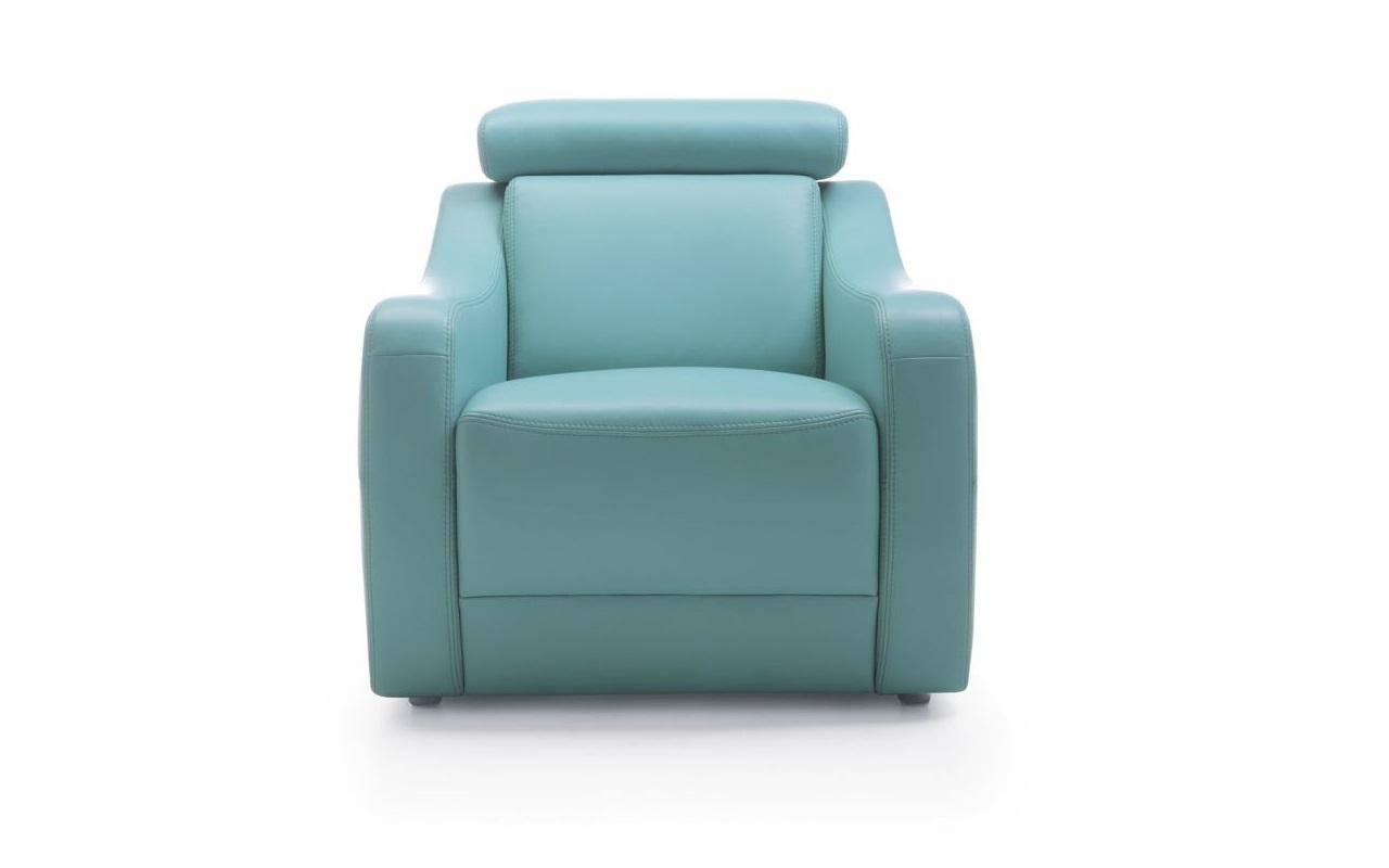 Fotoliu tapitat cu piele ecologica Sorizo Turquoise l85xA84xH80 cm