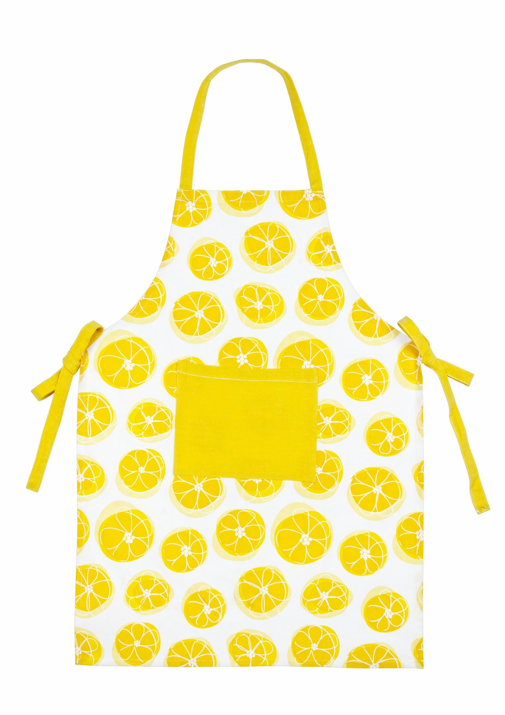 Sort din bumbac Lemony Galben / Alb, l60xH84 cm