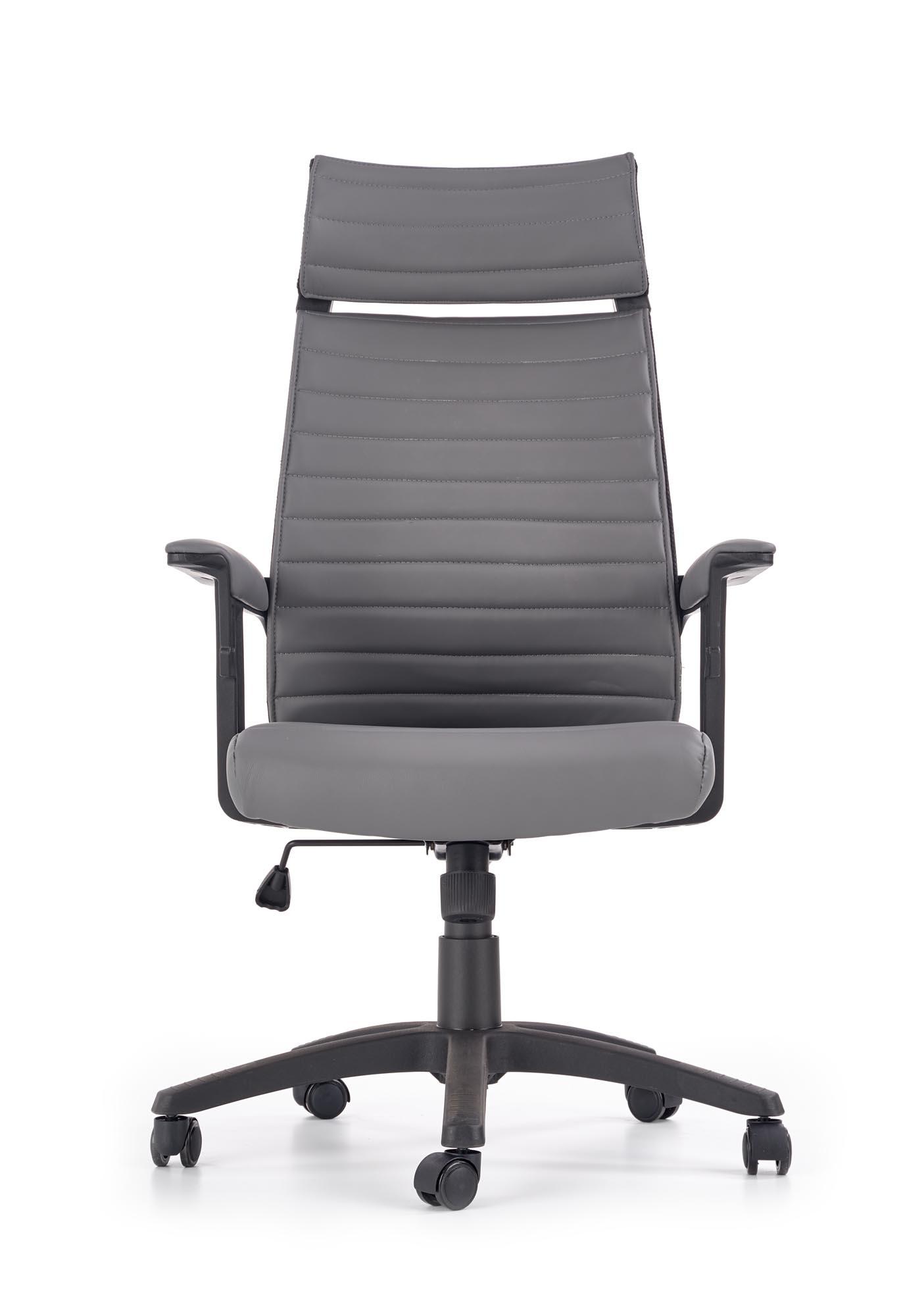 Scaun de birou ergonomic, tapitat cu piele ecologica Leland Gri, l64xA73xH122-132 cm vivre.ro