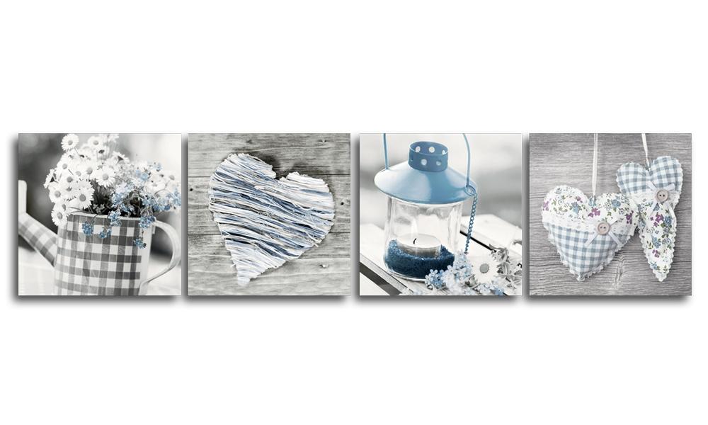 Tablou 4 piese Canvas Shabby Blue 32x32 cm