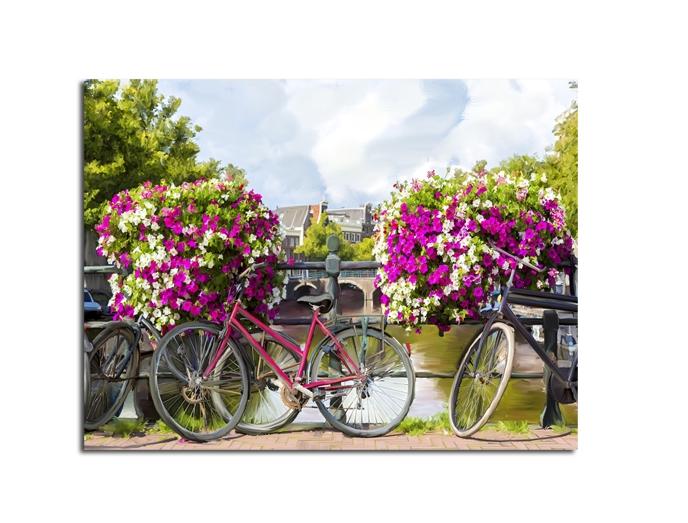 Tablou Canvas Watercolor Bikes 60x80 cm