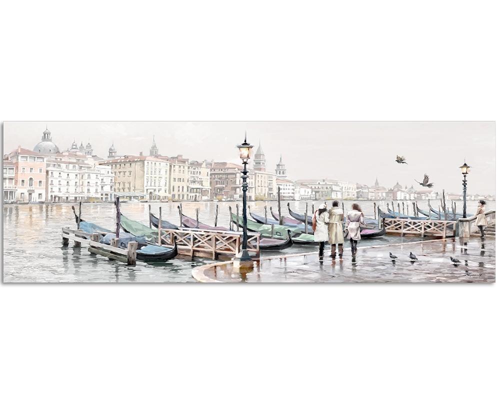 Tablou Canvas Watercolor Venezia Gondole 45x140cm