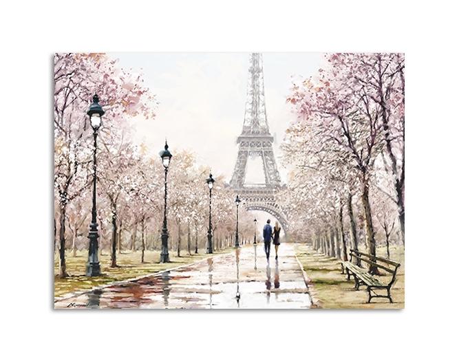 Tablou Canvas Watercolor Paris Pink II 85x113 cm