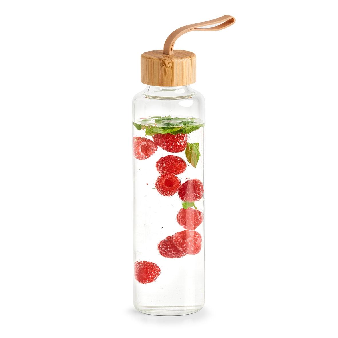 Sticla pentru apa Bamboo Transparent, 560 ml, Ø6,5xH24 cm poza