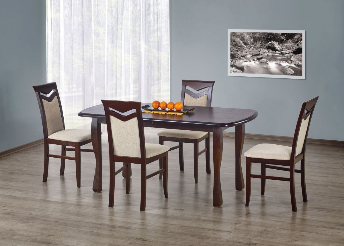 Set masa extensibila din lemn de fag si MDF Henryk Walnut + 4 scaune Citrone Walnut, L160-200xl80xH75 cm imagine