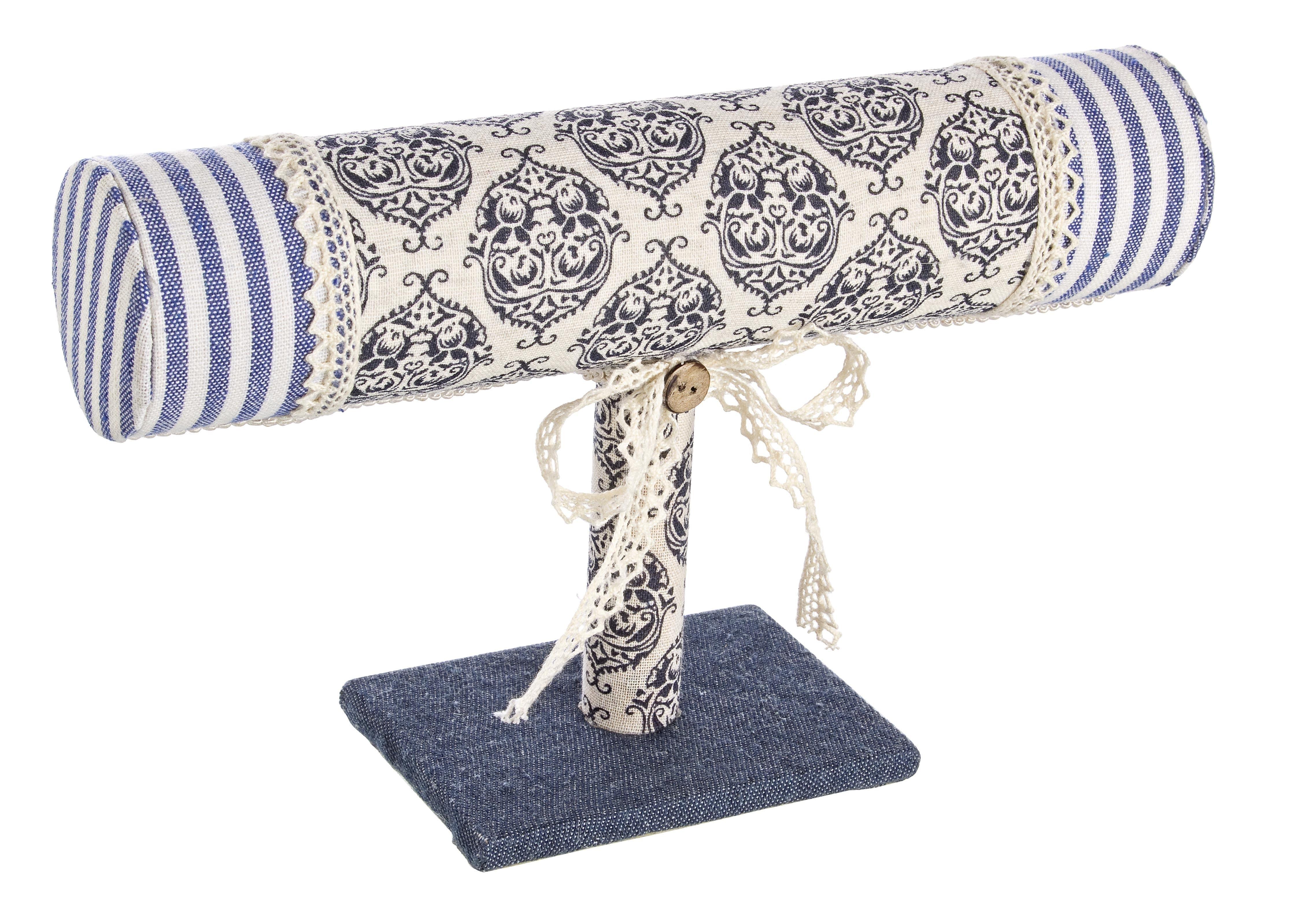 Suport bijuterii din MDF si material textil Retro Albastru / Alb, l23xA7xH15 cm