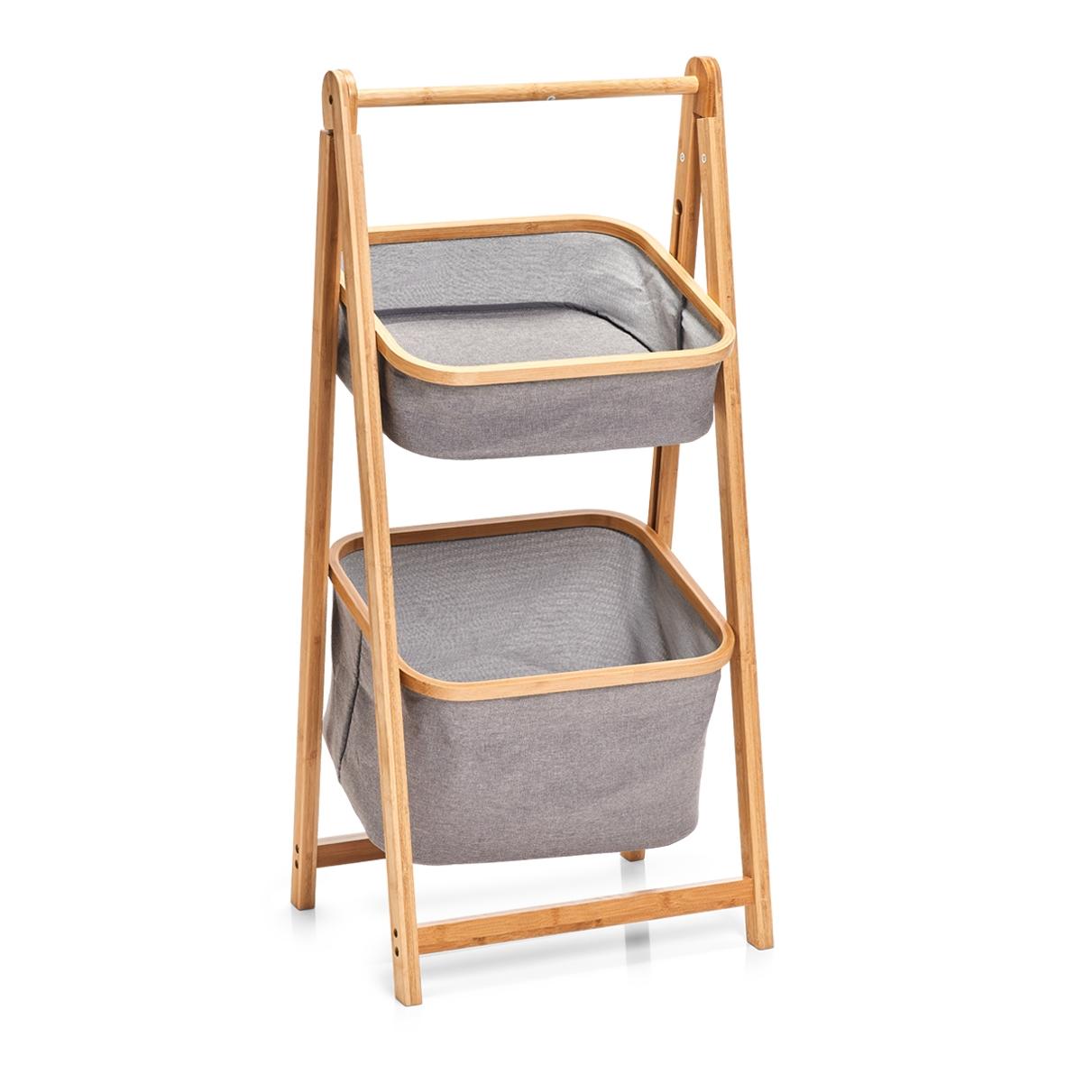 Suport cu 2 cosuri pentru depozitare, Bamboo Gri Poliester, l44xA35xH99 cm imagine