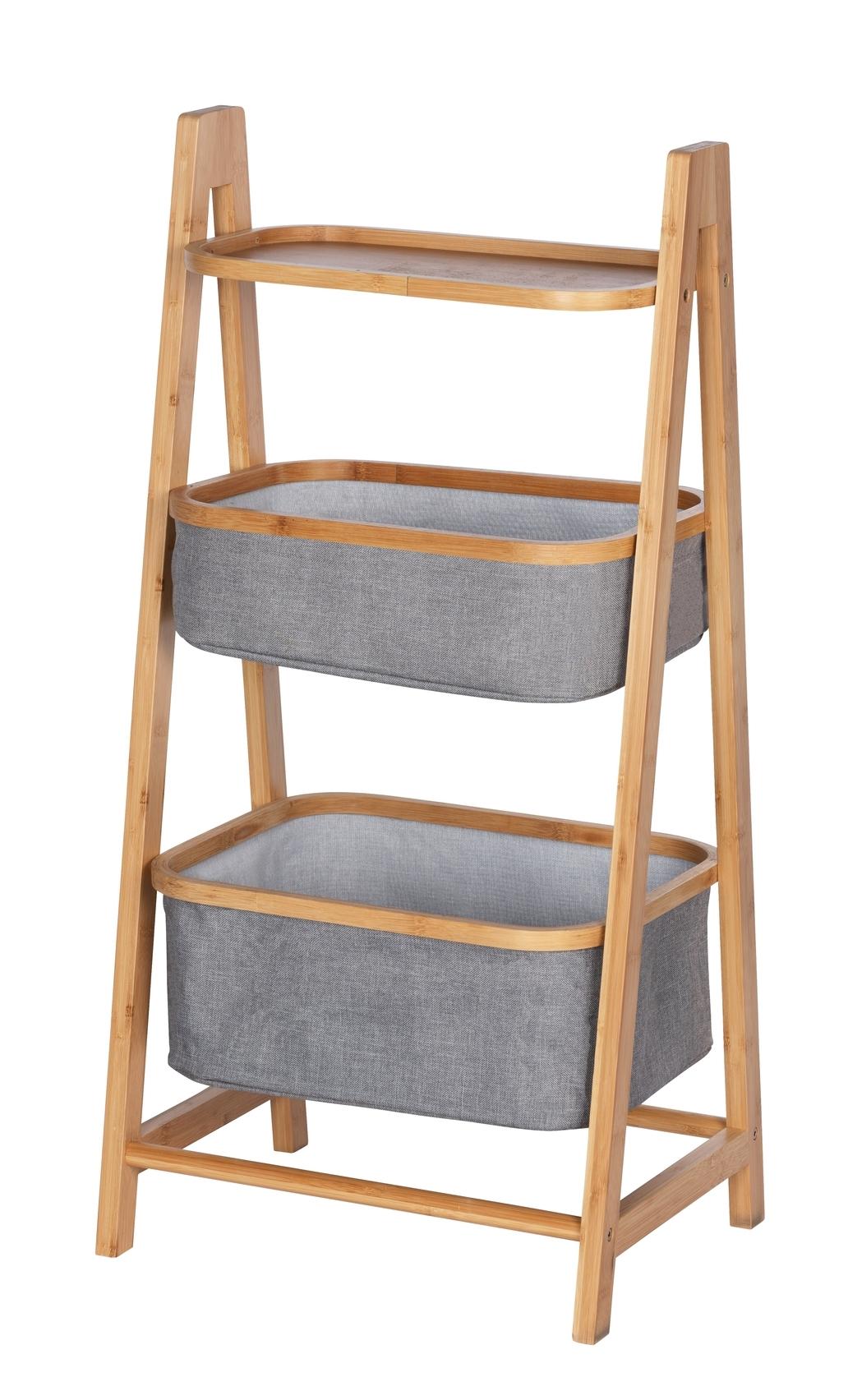 Suport cu etajera si 2 cosuri pentru depozitare, din bambus si poliester, Bahari Natural / Gri, l44xA34xH91 cm