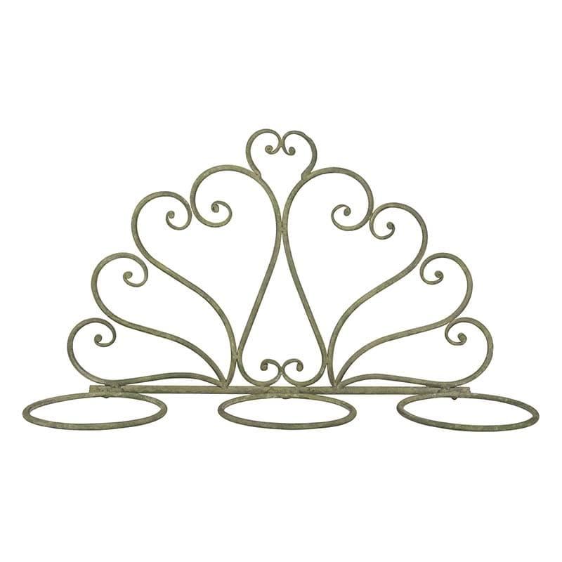 Suport de perete pentru 3 ghivece, din metal, Flower Verde Antichizat, L46,8xl15,2xH26,8 cm somproduct.ro