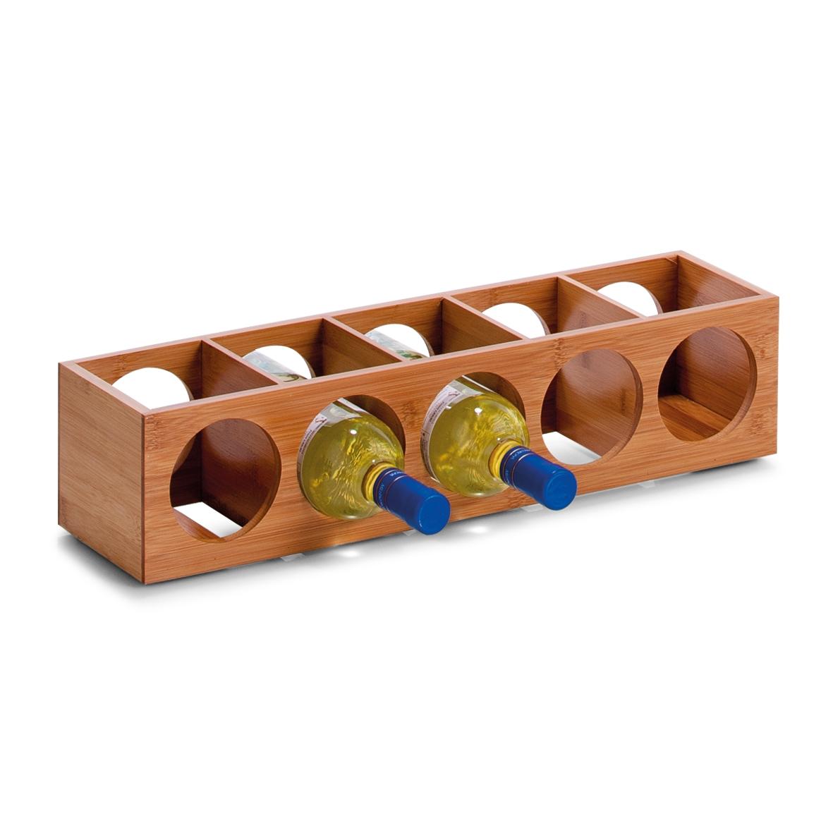 Suport din bambus pentru 5 sticle Rack Natural, l13,5xA12,5xH53 cm imagine