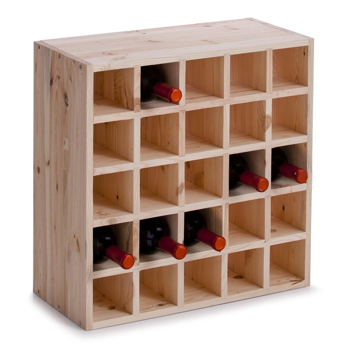 Suport din lemn de pin pentru 25 sticle Rack Square Natural, l52xA25xH52 cm imagine