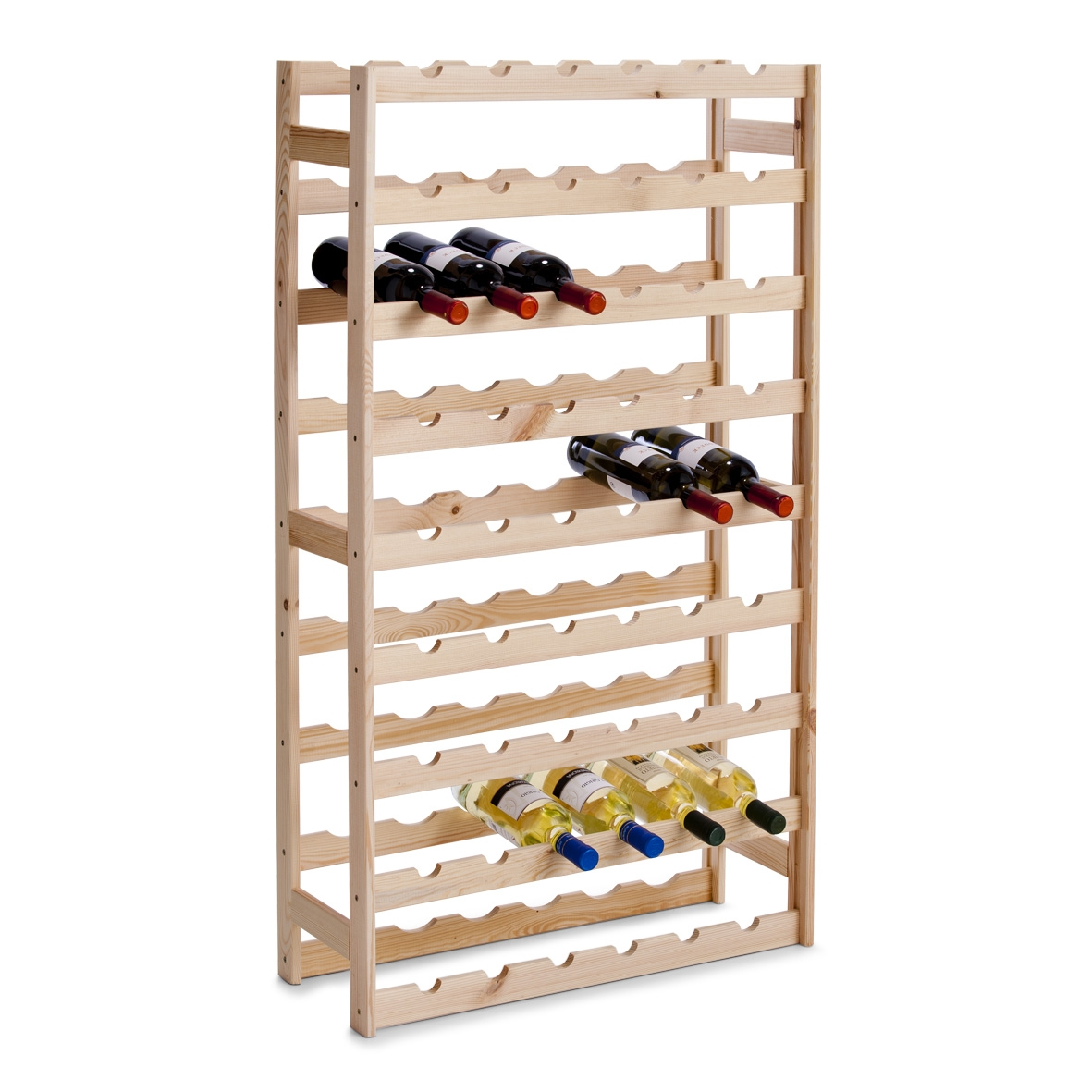 Suport din lemn de pin pentru 54 sticle Rack Natural, l67,5xA25xH118 cm imagine