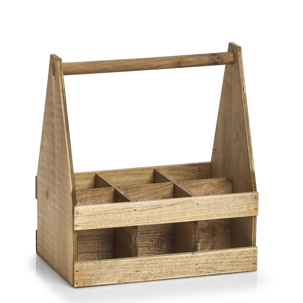 Suport din lemn pentru 6 sticle Wood Natural, L30,5xl20,5xH34,5 cm imagine