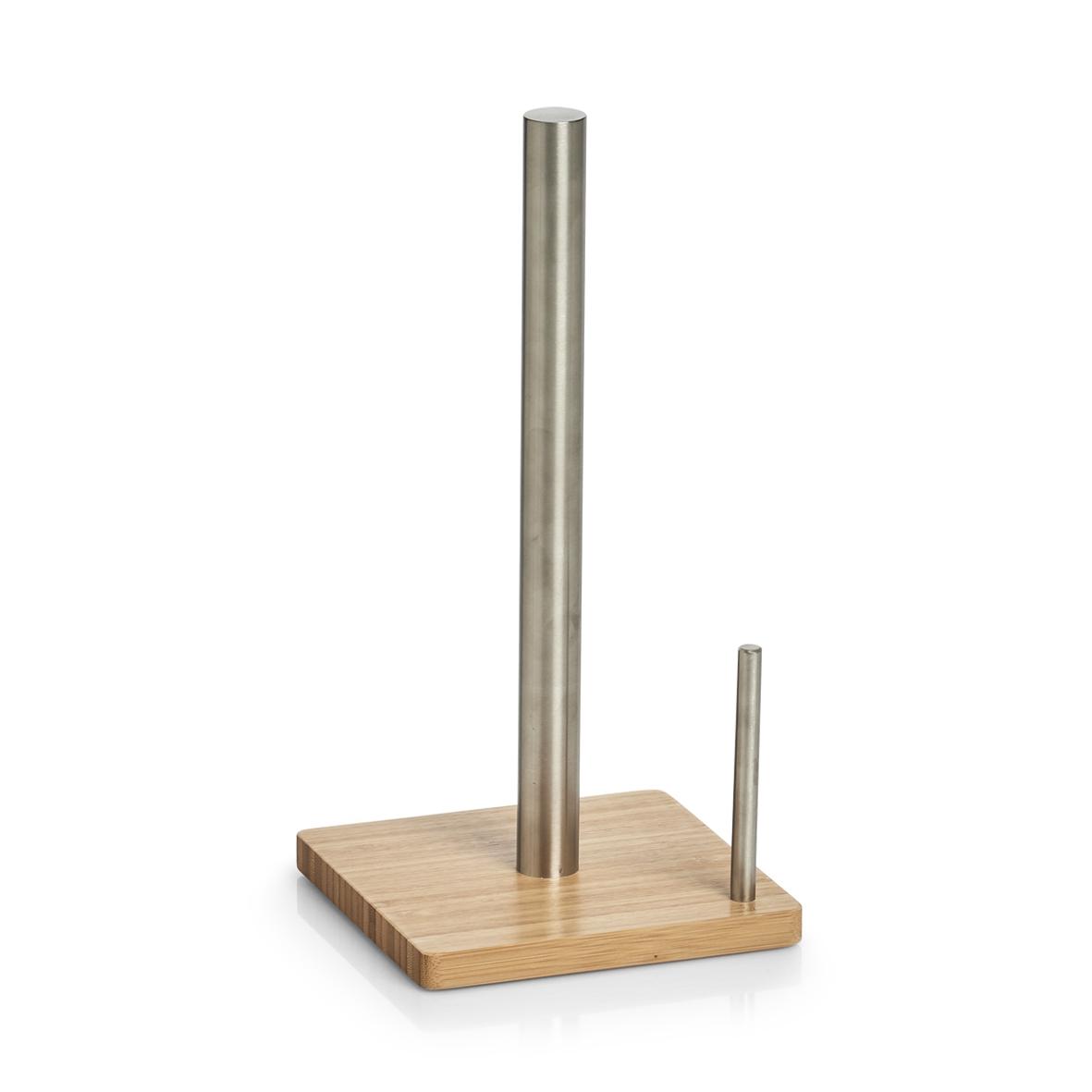 Suport din metal si bambus pentru role de bucatarie, Bamboo Natural, L16xl16xH32,5 cm poza