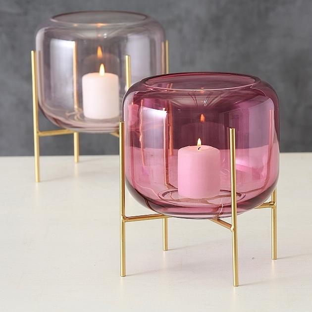 Suport din metal si sticla, pentru lumanare Leona Auriu / Roz, Modele Asortate, Ø19xH22 cm imagine