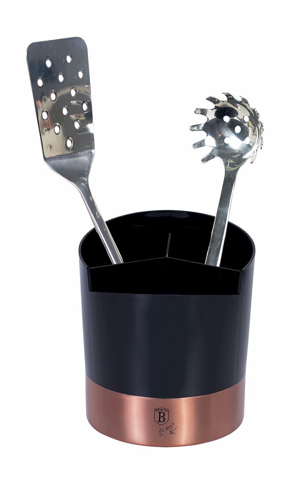 Suport din otel inoxidabil pentru ustensile si tacamuri de bucatarie, Ø14,5xH17 cm, Black Rose