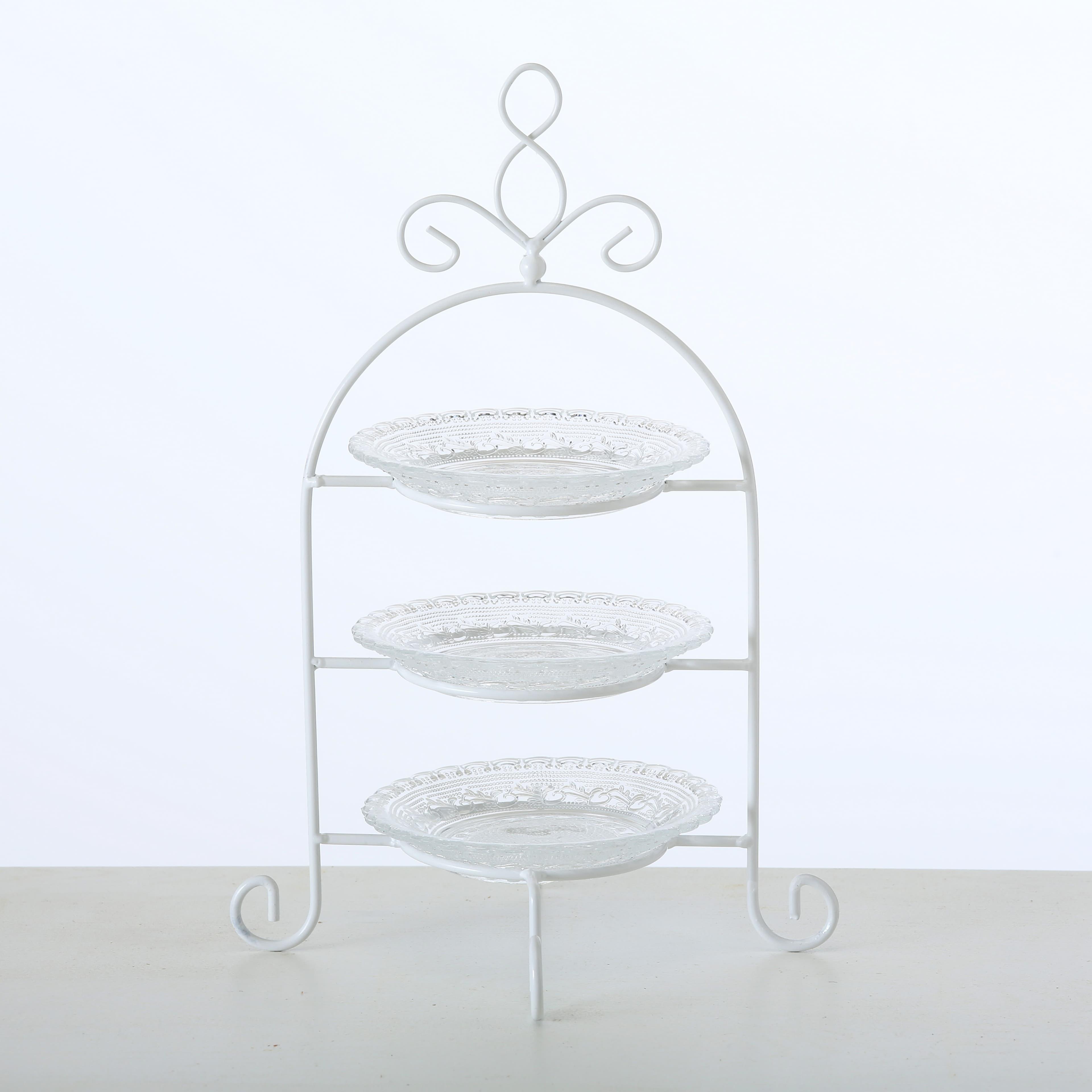 Suport din sticla si metal pentru prajituri, pe 3 nivele Madita Alb, Ø21xH32 cm imagine