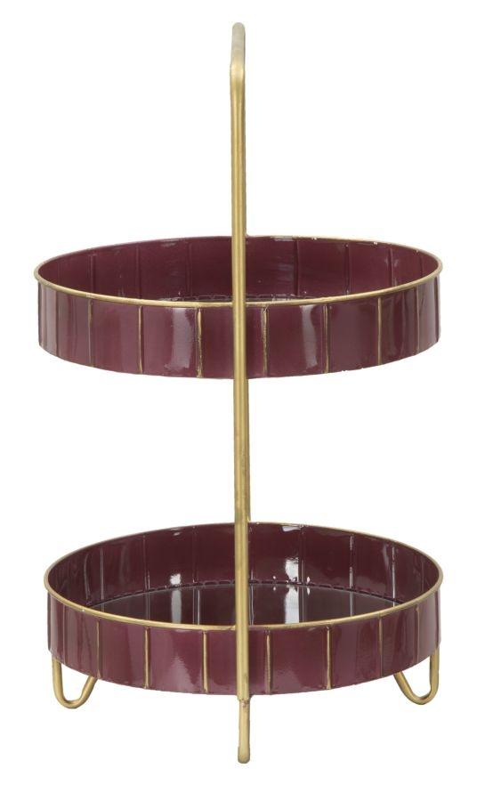 Suport ghiveci flori din metal si sticla Double Bordeaux l365xA345xH565 cm