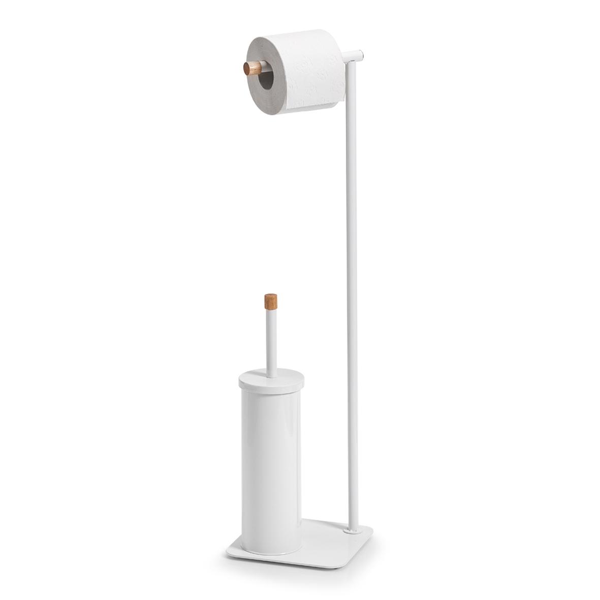 Suport pentru hartie igienica si perie de toaleta, Rubber Metal White, l19xA19xH75 cm poza
