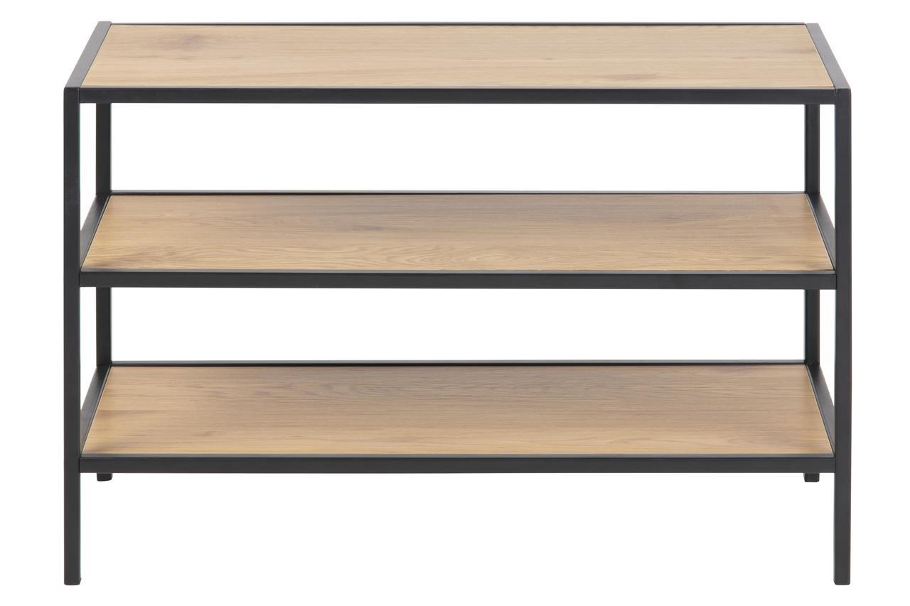 Suport incaltaminte din pal si metal Seaford I Stejar / Negru, l77xA35xH50 cm