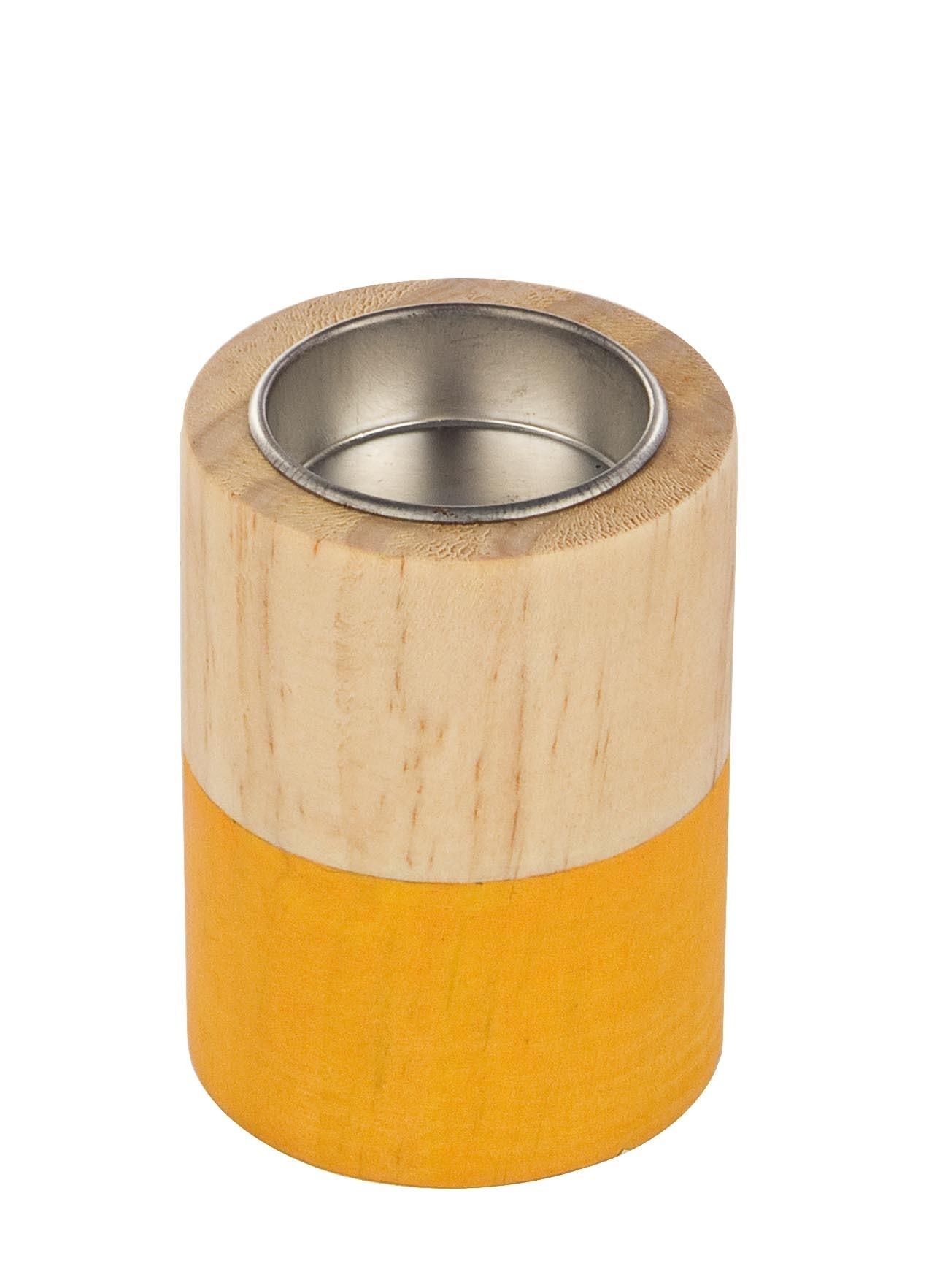 Suport lumanare din lemn Cylinder Natural / Portocaliu, Ø6xH8 cm imagine