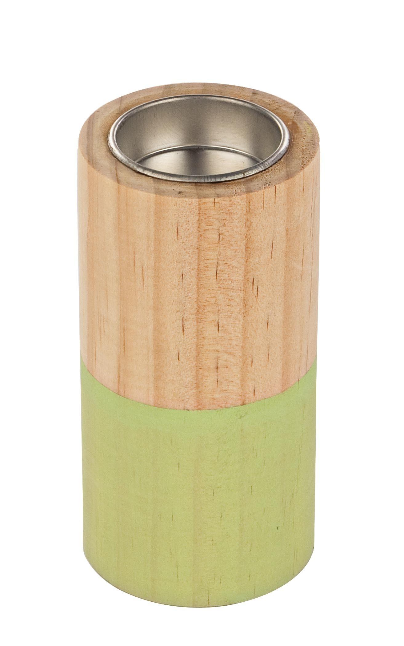 Suport lumanare din lemn Cylinder Verde / Natural, Ø6xH12 cm imagine