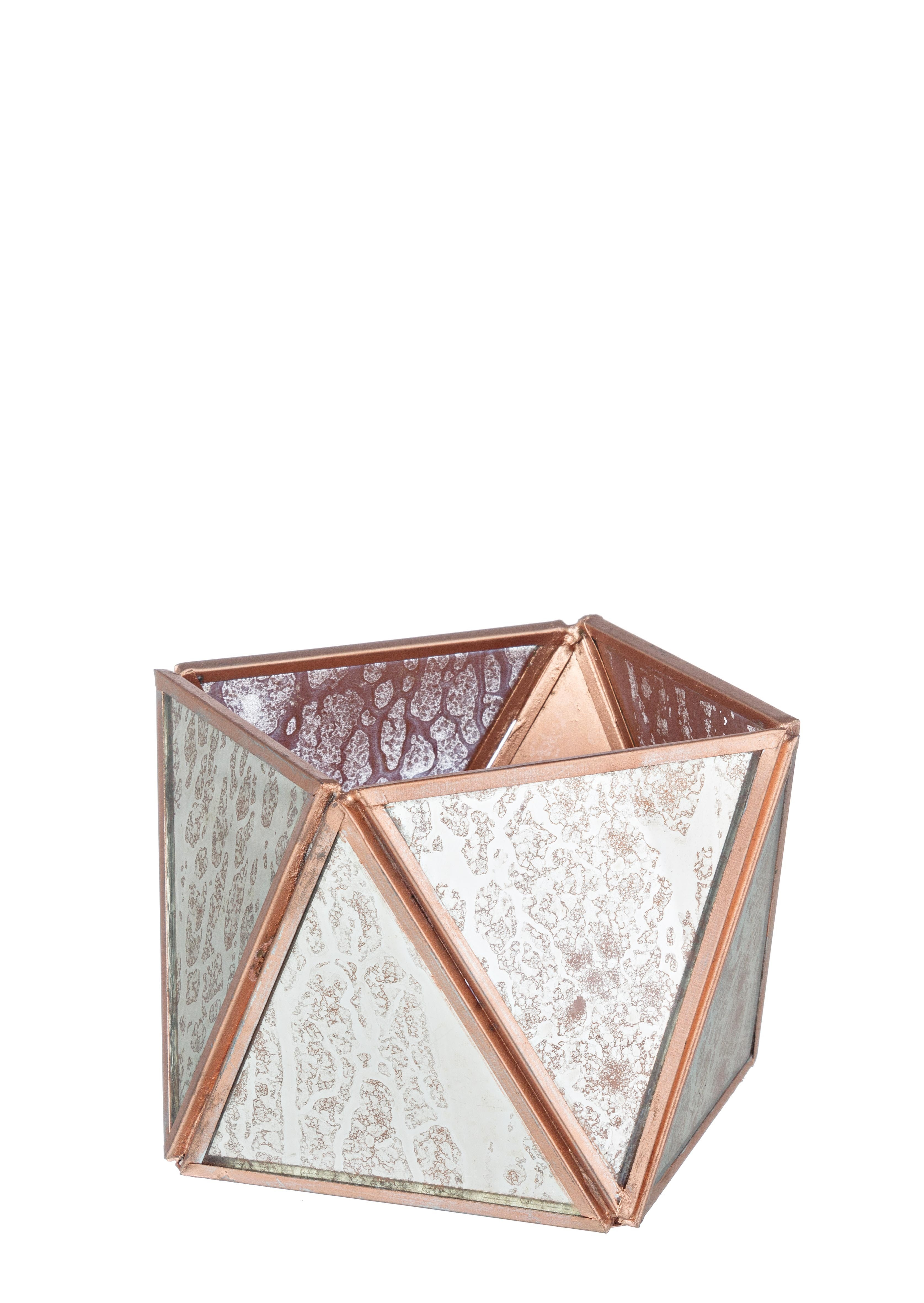 Suport lumanare din metal si sticla Gil Alb / Cupru, Ø14xH9 cm imagine