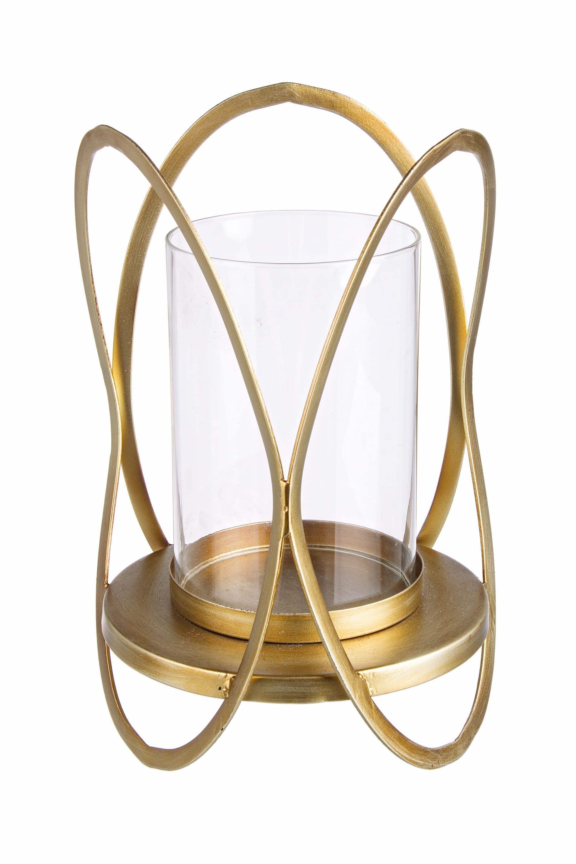 Suport lumanare din sticla si metal Adhira Auriu, Ø19,5xH39 cm