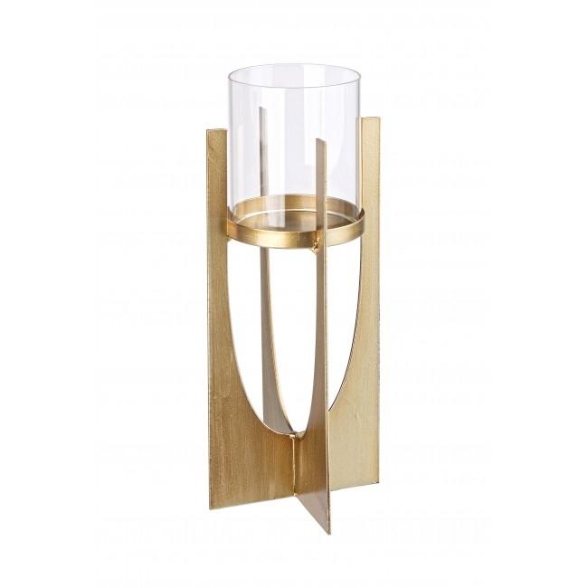 Suport lumanare din sticla si metal Adhira Transparent / Auriu, Ø8xH30 cm poza