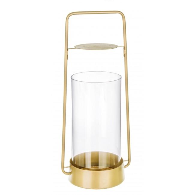 Suport lumanare din sticla si metal Zaira Auriu, l17xA13,5xH40 cm