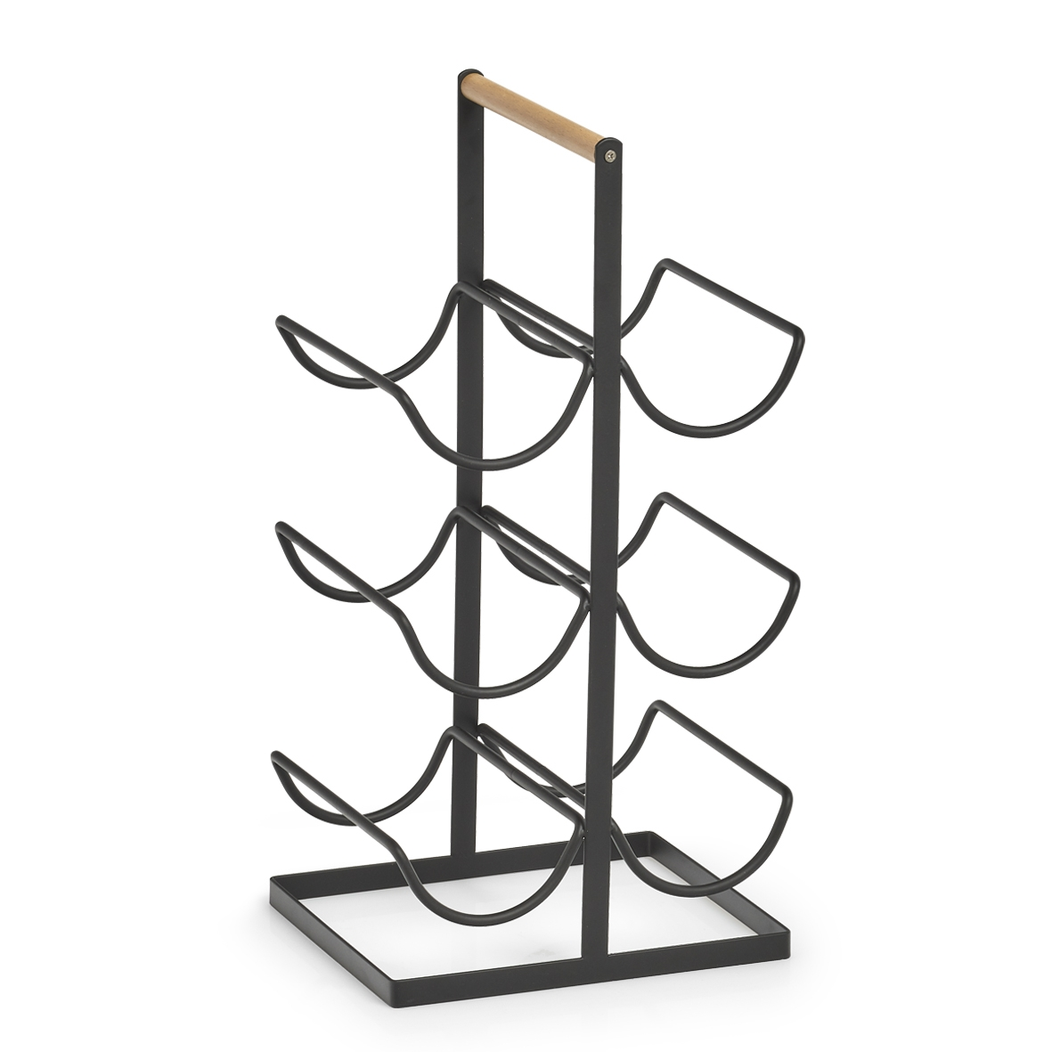 Suport metalic pentru 6 sticle Rack Negru, l23,5xA20xH46 cm imagine