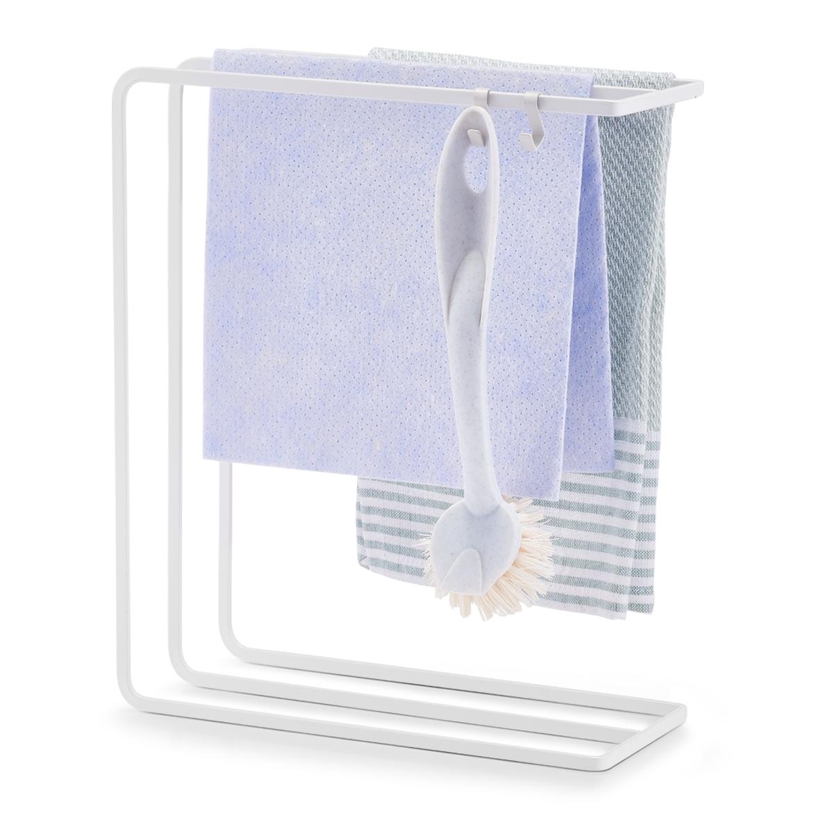 Suport metalic pentru accesorii curatenie, Drain Alb, L30xl10xH25 cm