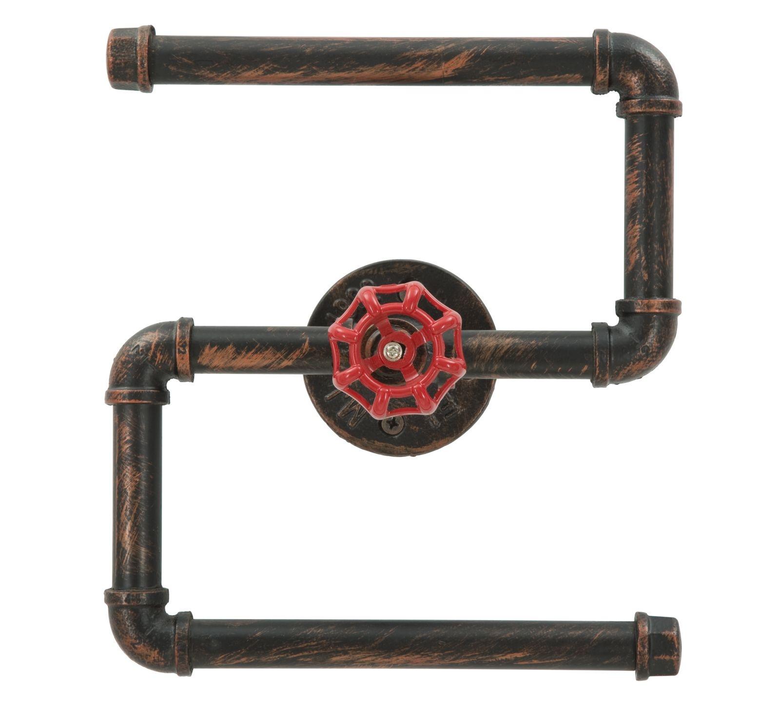 Suport metalic pentru hartie igienica Manhattan Double Black / Red l24xA11xH27 cm