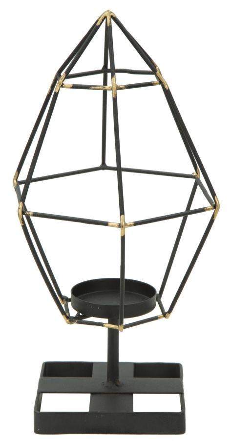 Suport metalic pentru lumanare Bright Piramid Black l15xA13xH29 cm