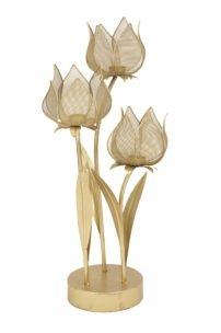 Suport metalic pentru lumanare Glam Flowery Small Auriu l35xA27xH66 cm